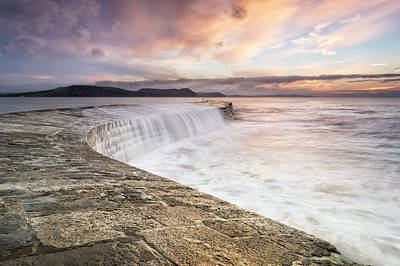 Sunrise Falls At Lyme Regis Cobb Poster by Chris Frost