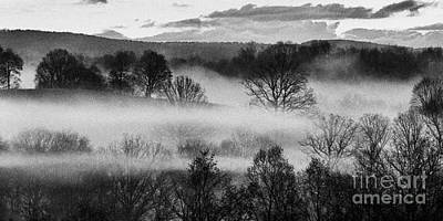 Sunrise Fog Black And White Poster by Thomas R Fletcher