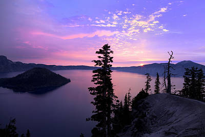 Sunrise In Crater Lake Poster by King Wu