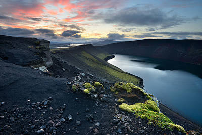 Crater Lake Twilight Poster featuring the photograph Sunrise Landscape With Veidivotn Lake In Iceland by Yevgen Timashov