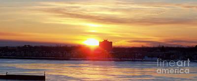 Sunrise On A Frozen Niagara River II Poster by John Telfer