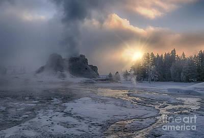 Sunrise On Castle Geyser - Yellowstone Poster by Sandra Bronstein
