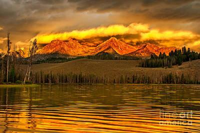 Sunrise On Little Redfish Lake Poster by Robert Bales