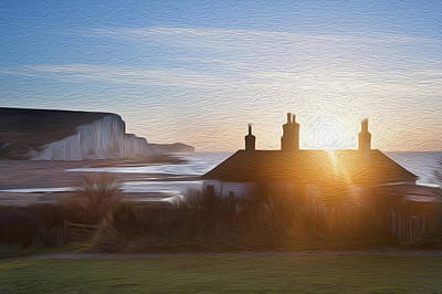 Sunrise Over Coastguard Cottages At Seaford Head With Seven Sisters Digital Painting Poster by Matthew Gibson