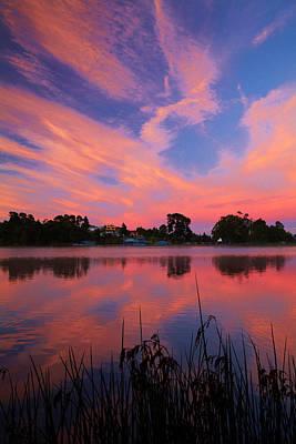 Sunrise Over Lake Rotoroa, Hamilton Poster by David Wall