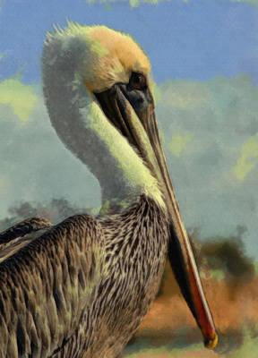 Sunrise Pelican Poster by Ernie Echols