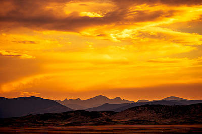 Sunset And Smoke Covered Mountains Poster by Rebecca Adams