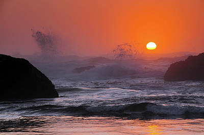 Sunset And Surf At Seal Rock, Seal Poster by Michel Hersen