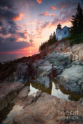 Sunset At Bass Harbor Lighthouse Poster by Jane Rix