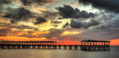 Sunset At Clam Creek Fishing Pier Poster by Greg and Chrystal Mimbs