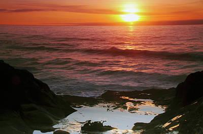 Sunset At Depoe Bay, Depoe Bay, Oregon Poster by Michel Hersen