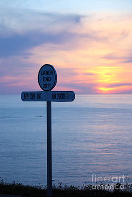 Sunset At Lands End Sign Post Poster by Terri Waters