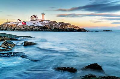 Sunset At Nubble Light-cape Neddick Maine Poster by Thomas Schoeller