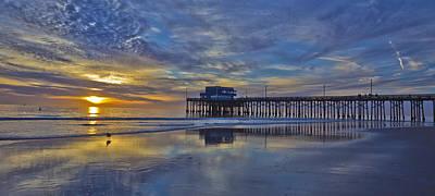 Sunset At The Newport Pier Poster by Harold Vaagan