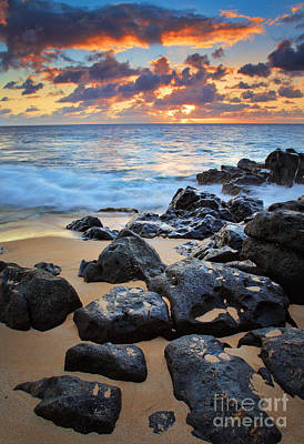 Sunset Beach Poster by Inge Johnsson