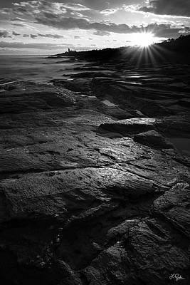 Sunset Beyond Black And White Poster by Lourry Legarde