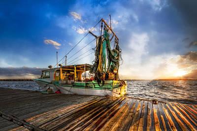 Sunset Fishing Poster by Debra and Dave Vanderlaan