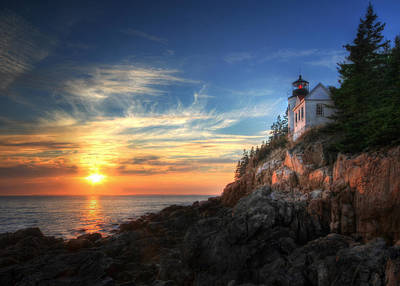 Sunset Glow At Bass Harbor Poster by Lori Deiter
