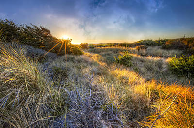 Sunset Glow On The Dunes Poster by Debra and Dave Vanderlaan