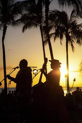 Sunset Hula Show, Waikiki, Honolulu Poster by Douglas Peebles