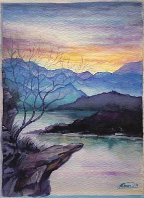 Sunset Montains Poster by Alban Dizdari