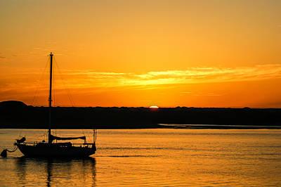 Sunset Morro Bay California Poster by Ernie Echols
