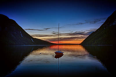 Sunset On Lake Willoughby Poster by John Haldane