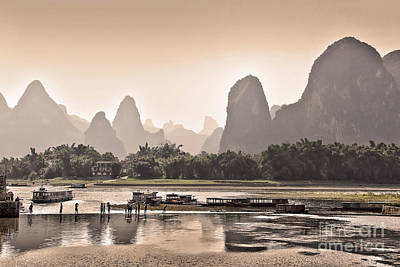 Sunset On Li River Poster by Delphimages Photo Creations