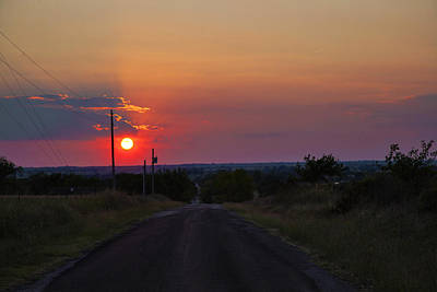 Sunset On The Road Heading West Poster by Toni Hopper
