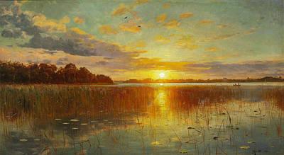 Sunset Over A Danish Fjord Poster by Peder Mork Monsted