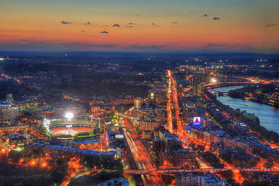 Sunset Over Fenway Park And The Citgo Sign Poster by Joann Vitali