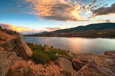 Sunset Over Horsetooth Poster by Preston Broadfoot