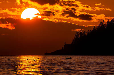 Sunset Over Point Atkinson Lighthouse Poster by Alexis Birkill