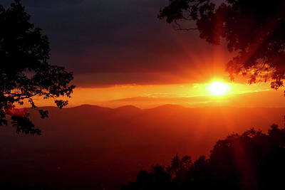 Sunset Over The Blue Ridge Mountains Poster by Al Petteway & Amy White