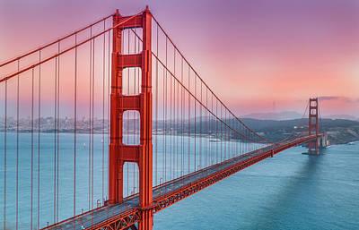 Sunset Over The Golden Gate Bridge Poster by Sarit Sotangkur