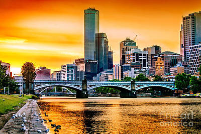 Sunset Over The Yarra Poster by Az Jackson