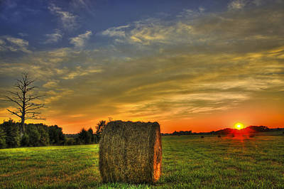 Sunset Round Bale Lick Skillet Road Poster by Reid Callaway