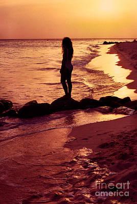 Sunset Silhouette Druif Beach Aruba Poster by Thomas R Fletcher