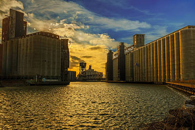 Sunsets On A River Through An Industrial Canyon Poster by Chris Bordeleau