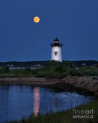 Super Moon Over Edgartown Lighthouse Poster by Mark Miller