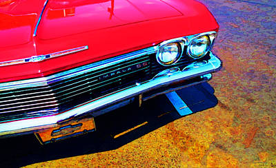 Super Sport 3 - Chevy Impala Classic Car Poster by Sharon Cummings
