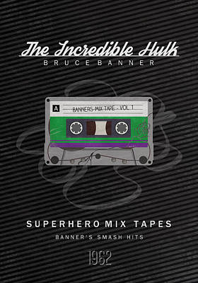 Superhero Mix Tapes - The Incredible Hulk Poster by Alyn Spiller
