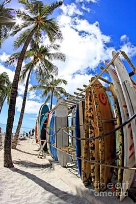 Surf And Sun Waikiki Poster by DJ Florek