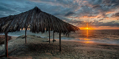 Surf Shack At Sunset - Wide Format Poster by Peter Tellone