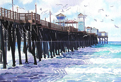 Surf View Oceanside Pier California Poster by Mary Helmreich