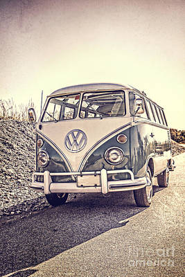 Surfer's Vintage Vw Samba Bus At The Beach Poster by Edward Fielding