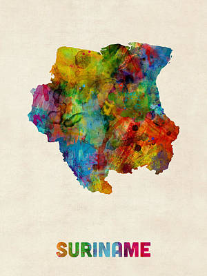 Suriname Watercolor Map Poster by Michael Tompsett