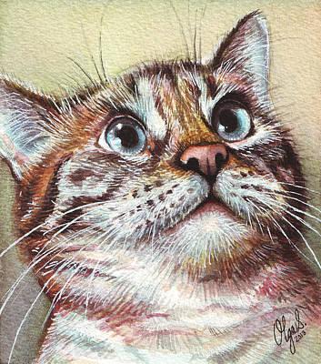 Surprised Kitty Poster by Olga Shvartsur