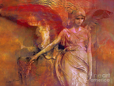 Surreal Angel Art Photography - Dreamy Impressionistic Surreal Ethereal Angel Art Poster by Kathy Fornal