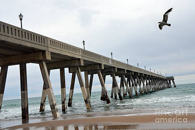 Surreal Blue Sky Ocean Coastal Fishing Pier Seagull North Carolina Atlantic Ocean Poster by Kathy Fornal
